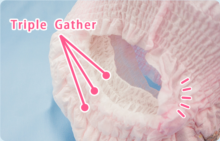 Triple layer Gathers that gently fits to prevent leakages