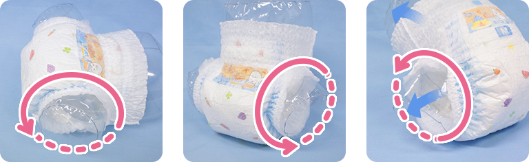 A diaper design that stops leaks Only with MamyPoko. No more worries!